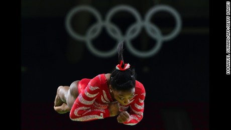 US gymnast Simone Biles practices on the vault.