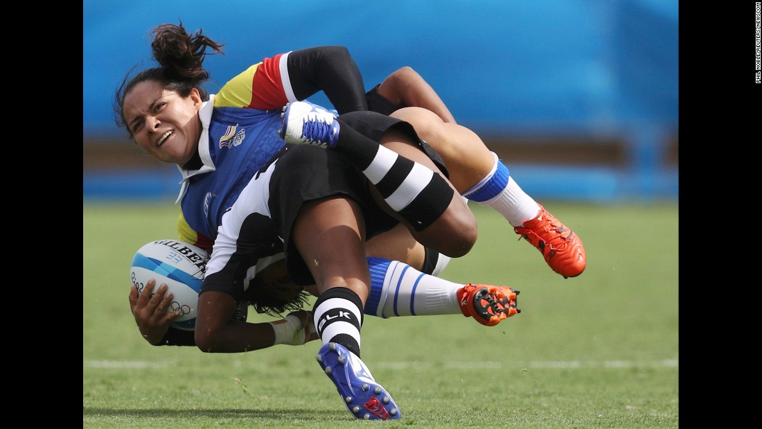 Colombia's Claudia Betancur tackles Fiji's Ana Maria Roqica during a rugby sevens match on Sunday, August 7.