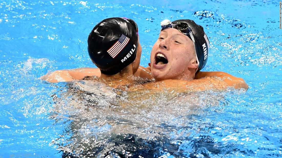 "Lilly King, right, celebrates with American teammate Katie Meili after winning the 100-meter breaststroke on Monday, August 8. Leading up to the final, King <a href=""http://www.cnn.com/2016/08/08/sport/rio-olympics-russia-booed-lilly-king-yuliya-efimov/"" target=""_blank"">had called out Russian rival Yulia Efimova,</a> who faced two bans for performance-enhancing drugs before eventually being allowed to swim in Rio de Janeiro. Efimova finished in second place. Meili got the bronze."