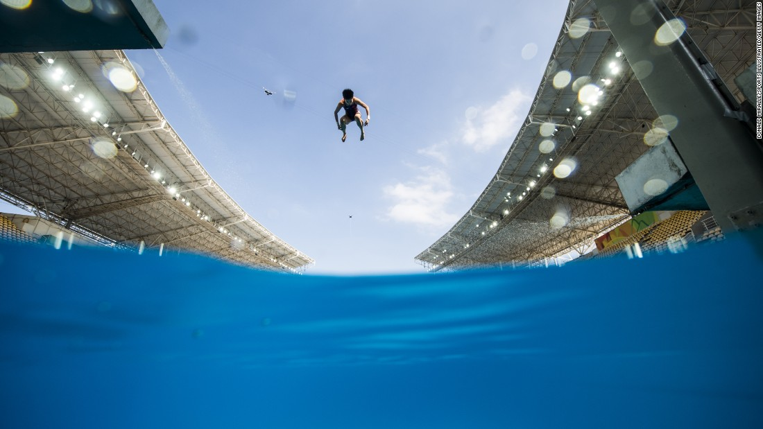 A diver practices at the Maria Lenk Aquatics Centre on Thursday, August 4.