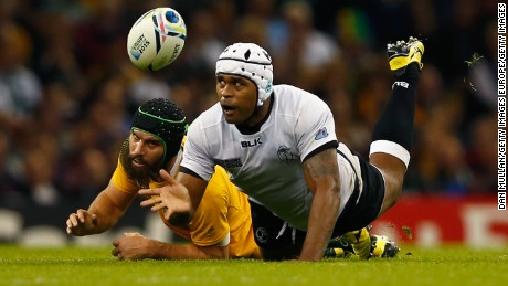 Akapusi Qera in action for Fiji at the 2015 Rugby World Cup.