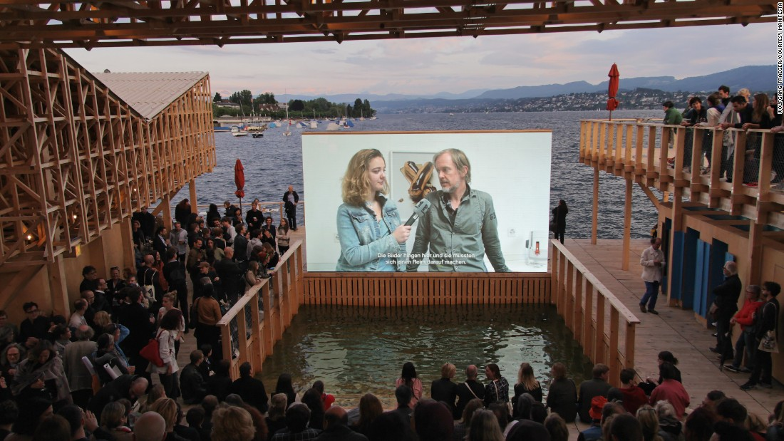 "Described as an ""urban island,"" the floating structure is intended for leisurely use, and features an open-air cinema."