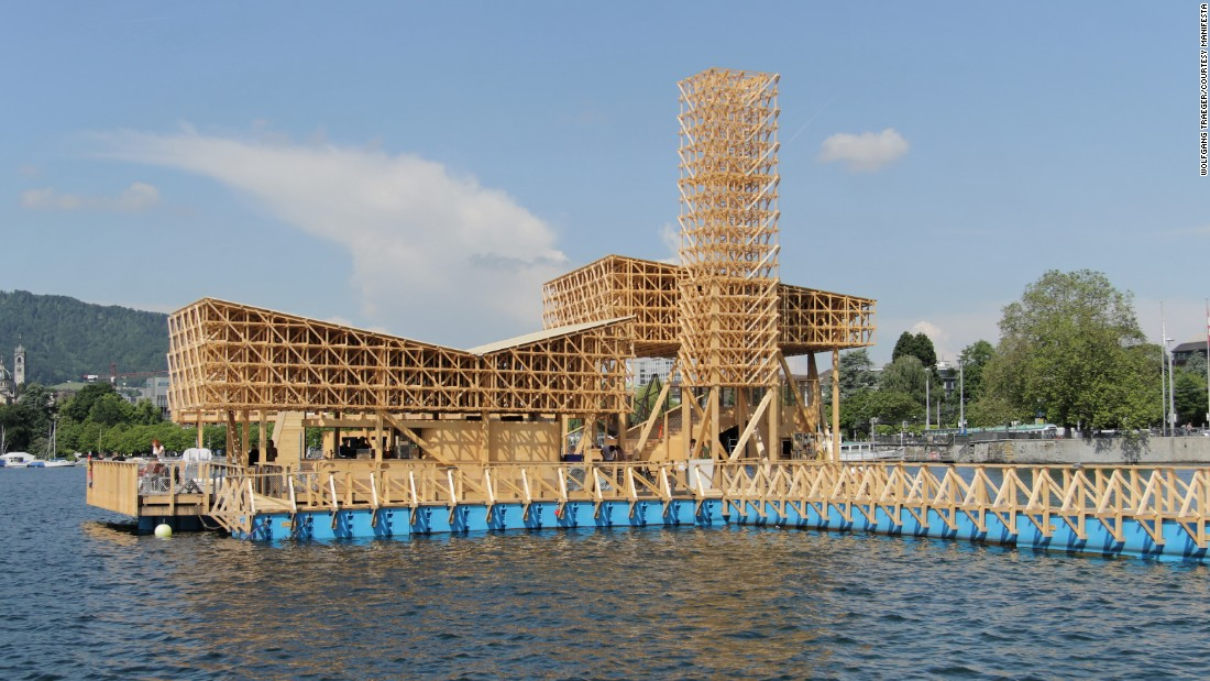 The wooden structure is a collaborative project between 30 architecture students from ETH in Zurich and design firm Studio Tom Emerson.