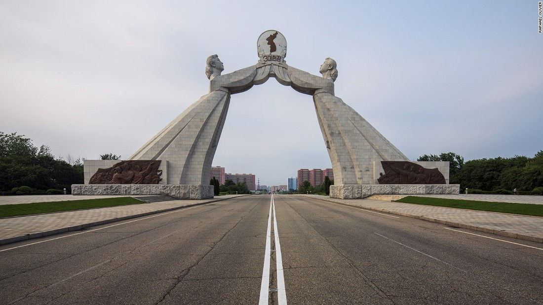 """""""This sits on the outskirts of Pyongyang. The two women symbolize the two Koreas and the desire of reunification. Like many other monuments in the country, it is made from solid granite stone."""""""