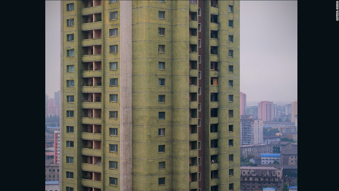 """""""A classical Pyongyang tower made with modernist round shapes, painted pistachio green with hints of salmon pink. It's perfectly in line with the pastel tones favored throughout the city."""""""