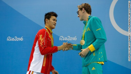 China's Sun Yang shakes hands with Australia's Mack Horton after the men's 400m freestyle final.