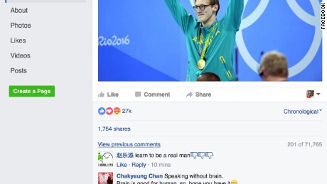 Mack Horton's Facebook and other social media were flooded with abusive comments.