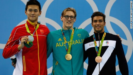 Sun Yang of China, gold medal medalist Mack Horton of Australia and bronze medalist Gabriele Detti of Italy after Men's 400m Freestyle event at the Rio 2016 Olympic Games.