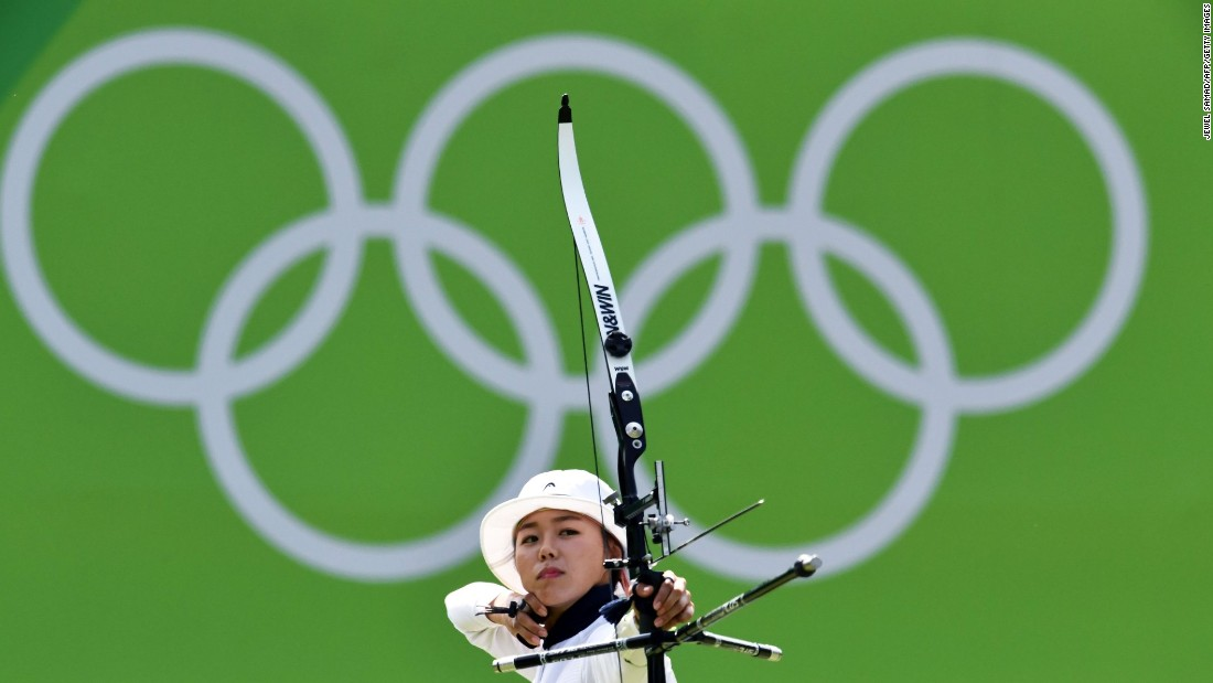 South Korean archer Chang Hye-jin takes part in the women's individual competition. Earlier this week, she and teammates Choi Mi-sun and Ki Bo-bae took gold in the team event.
