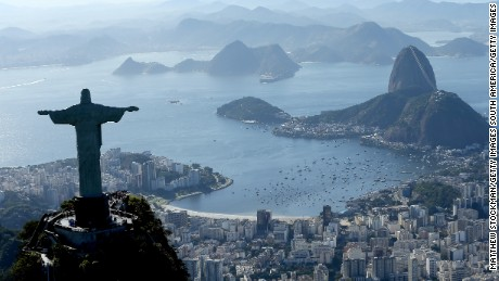 RIO DE JANEIRO, BRAZIL - JULY 21:  Aerial view of Christ the Redeemer, Flamengo Beach, the Sugar Loaf and Guanabara Bay with nearly one year to go to the Rio 2016 Olympic Games on July 21, 2015 in Rio de Janeiro, Brazil.  (Photo by Matthew Stockman/Getty Images)