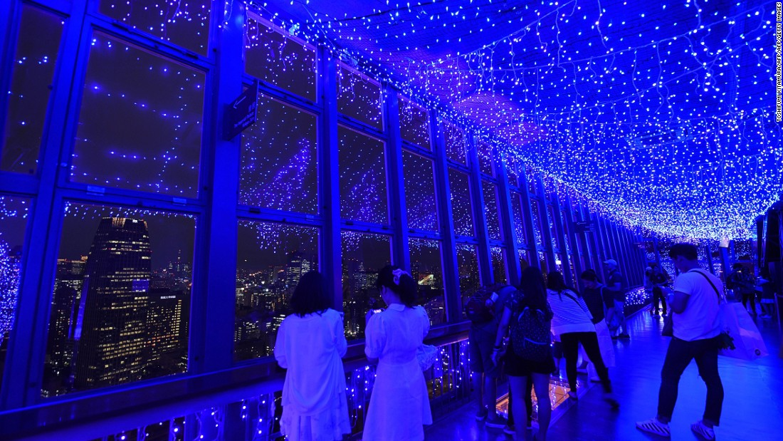 """There's a Main Observatory deck halfway up the tower and a Special Observatory 100 meters higher. Special events are held throughout the year: Its spectacular """"Milky Way Illumination"""" (pictured) runs until August 31."""
