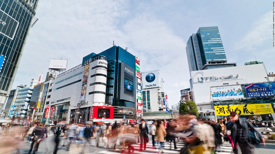Tokyo's famous scramble intersection is located in front of Shibuya Station. It's a major shopping, entertainment and nightlife district.