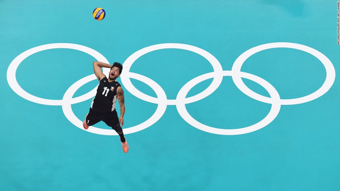 Mexico's Jorge Alejandro Barajas serves the ball during a volleyball match against France.