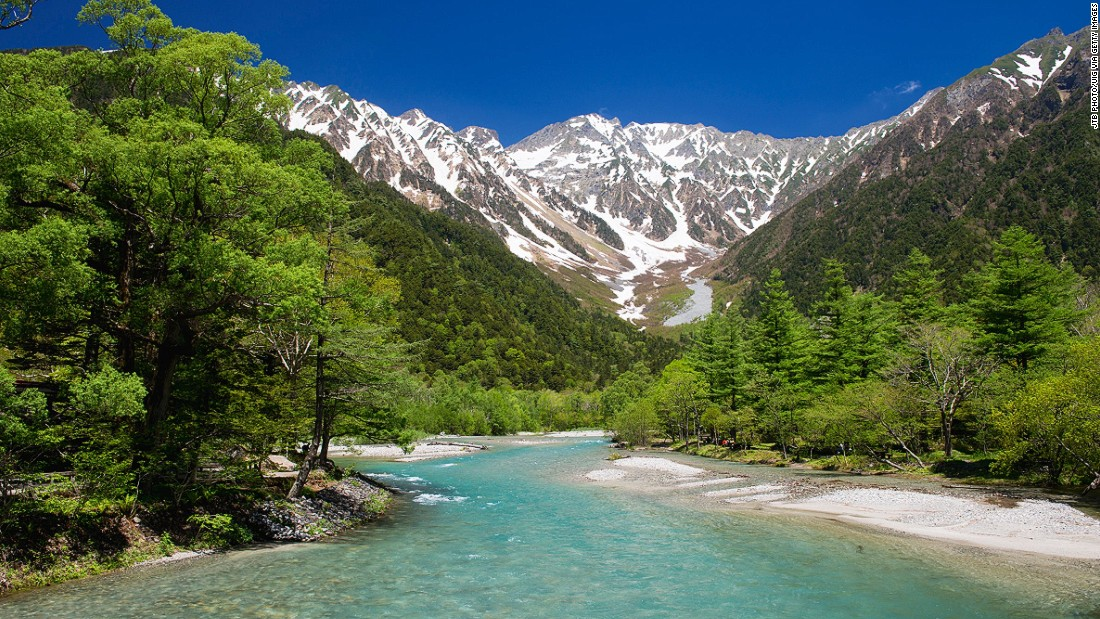 Mount Hotaka, part of Japan's Northern Alps -- or Hida Mountains -- overlooks the Azusa River, which flows through the highland valley of Kamikochi. More of Japan's most beautiful mountainous landscapes ahead.