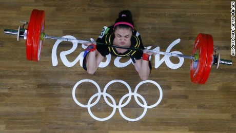 Tawain's Hsu Shu-Ching competes in the women's 53kg weightlifting event at the Rio 2016 Olympics