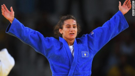 Majlinda Kelmendi winning gold medal for Kosovo