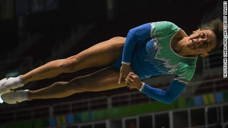 Uzbekistan's Oksana Chusovitina competes during the artistic gymnastics test event Women's Vault final for the Rio 2016 Olympic games at the Rio Olympic Arena of the Olympic Park in Rio de Janeiro, Brazil, on April 18, 2016. / AFP / YASUYOSHI CHIBA        (Photo credit should read YASUYOSHI CHIBA/AFP/Getty Images)