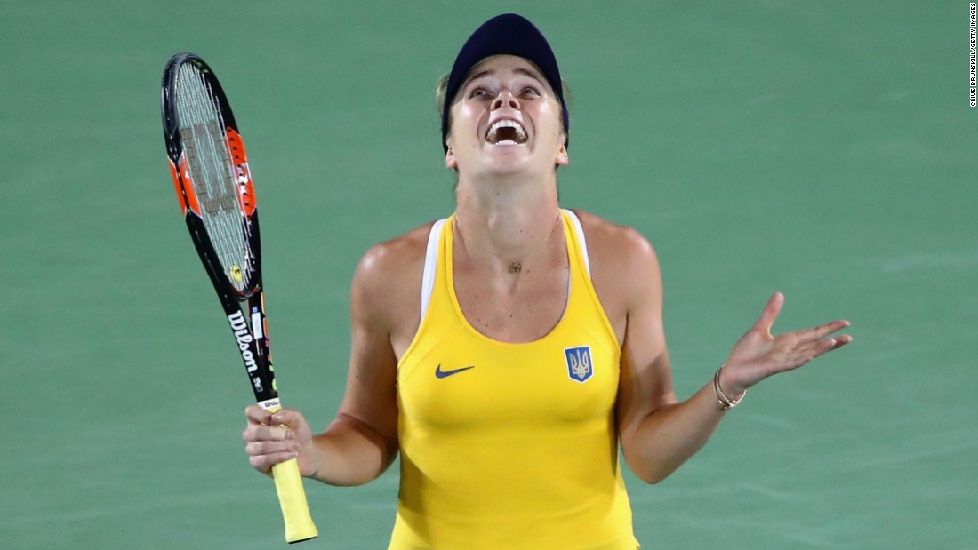"""Ukrainian tennis player Elina Svitolina reacts after <a href=""""http://www.cnn.com/2016/08/09/tennis/serena-williams-beaten-svitolina-rio-olympics/index.html"""" target=""""_blank"""">her third-round victory</a> over top-ranked Serena Williams. Svitolina won 6-4, 6-3."""