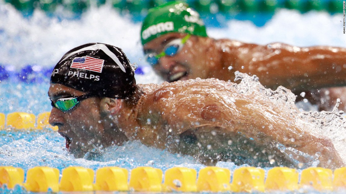 "South Africa's Chad Le Clos, right, looks over at U.S. swimmer Michael Phelps during <a href=""http://www.cnn.com/2016/08/09/sport/michael-phelps-katie-ledecky-swimming/index.html"" target=""_blank"">the 200-meter butterfly final</a> on Tuesday, August 9. Ahead of their semifinal, <a href=""http://edition.cnn.com/2016/08/09/sport/phelps-face-olympics/index.html"" target=""_blank"">the two were seen on camera</a> as Le Clos shadowboxed while Phelps just watched."