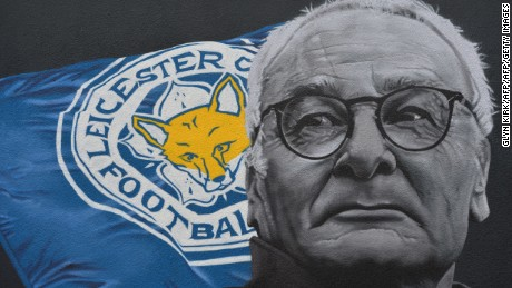 The giant mural of Leicester City's Italian manager Claudio Ranieri, created by artist Richard Wilson is pictured in Leicester, central England on May 7, 2016. Leicester City, who were 5,000/1 rank outsiders in pre-season, will receive the Premier League trophy after Saturday's final home game of the season against Everton. / AFP / GLYN KIRK / RESTRICTED TO EDITORIAL USE - MANDATORY MENTION OF THE ARTIST UPON PUBLICATION - TO ILLUSTRATE THE EVENT AS SPECIFIED IN THE CAPTION        (Photo credit should read GLYN KIRK/AFP/Getty Images)