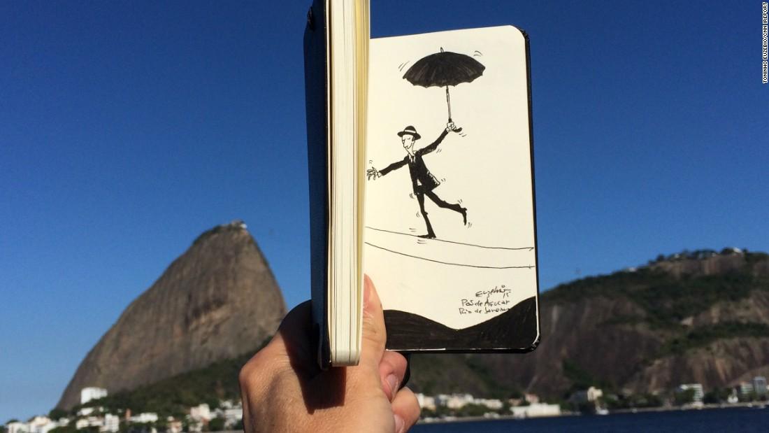 Euzebio made a tightrope walker teeter near Sugarloaf Mountan in Rio de Janiero.