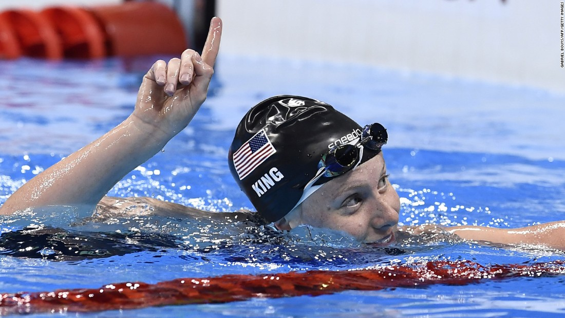 "U.S. swimmer Lilly King reacts after winning the 100-meter breaststroke semifinal on Sunday, August 7. King beat Russia's Yulia Efimova in both their semifinal and final faceoff after what had been billed as an <a href=""http://edition.cnn.com/2016/08/08/sport/lilly-king-yulia-efimova-swimming/"" target=""_blank"">Olympic grudge race</a>."