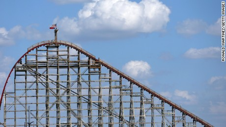 ARLINGTON, TX - JULY 22:  A view of The Texas Giant roller coaster at Six Flags Over Texas on July 22, 2013 in Arlington, Texas. A woman fell to her death after falling out of the 14-story-high roller coaster on Friday July, 19, 2013.  (Photo by Ronald Martinez/Getty Images)
