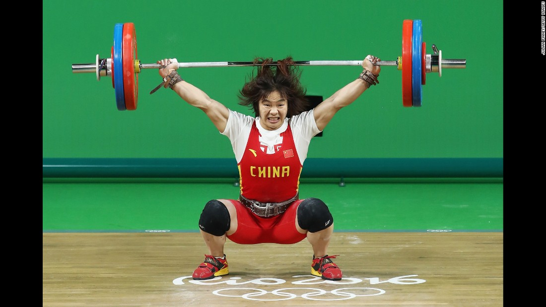 Chinese weightlifter Yanmei Xiang won the gold in the 69-kilogram (152-pound) weight class.