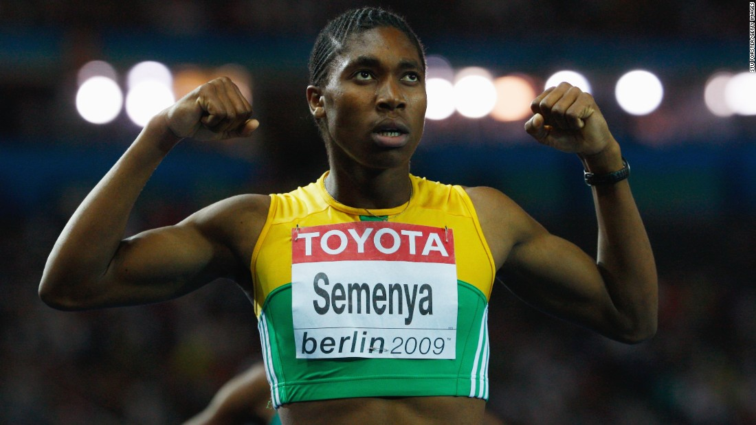 The decision also meant that South African runner Caster Semenya (pictured) -- a fellow athlete with naturally high levels of testosterone -- was able to compete without being forced to take testosterone suppressing drugs. Here, Semenya celebrates winning the gold medal in the women's 800 meters Final during the World Athletics Championships in 2009.