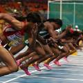 Female athletes start line