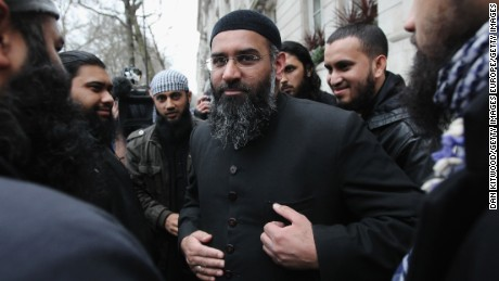 Islam4UK Spokesman Anjem Choudary leaves a press conference in Millbank Studios, London, on January 12, 2010.