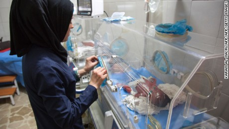 Newborns in incubators are evacuated to a hospital basement following reported government bombardment within a few hundred metres of the medical facility, in eastern Aleppo.