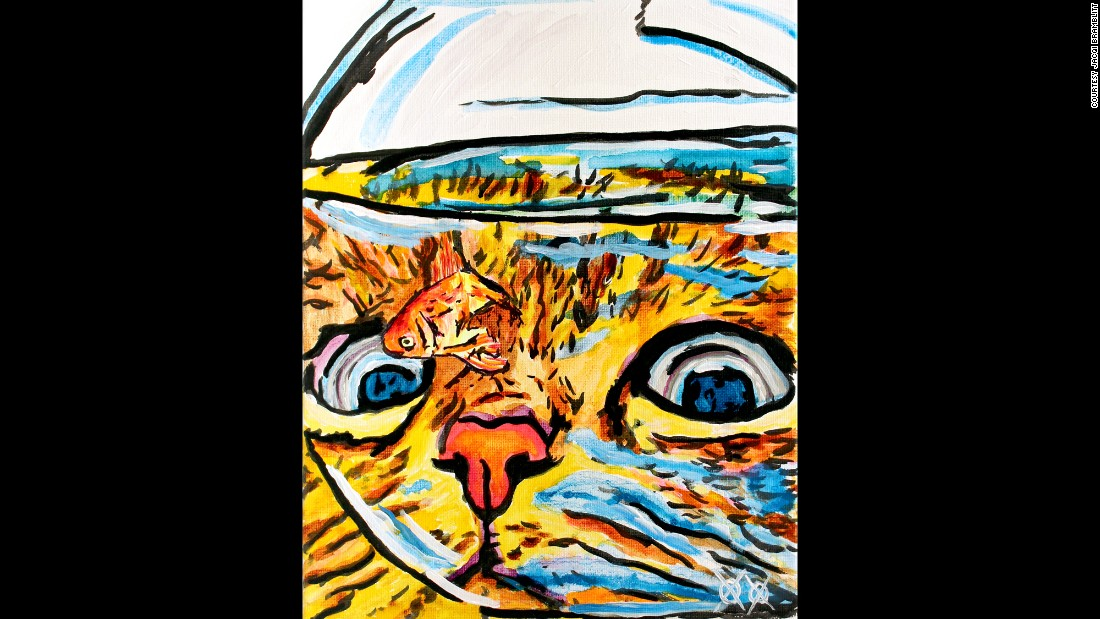 """Cat and Fish Bowl"": ""I love to have fun with my art and love to paint all kinds of animals; often, these two interests meet up in a painting of mine. Is the cat hungry or just curious? I don't know that, but I do know that the model's name is Red. That's the cat, by the way. ... if the fish had a name, he kept it to himself."""