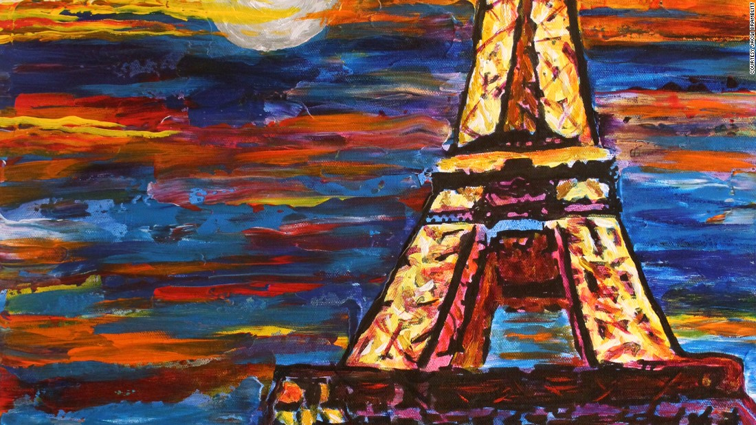 """Paris at Night"": ""Night is a magical time for me. Music and the sounds of people are intensified, and for me, that means more color. While night for some may darken their mood, for me, I think it is a time when emotions and feelings can also run their highest."""