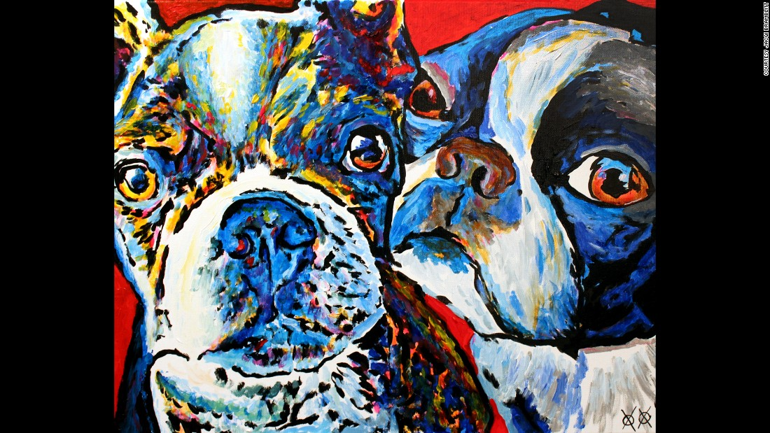 """Zimmie and Zoey"": ""Most of my paintings are of real people and animals that I am lucky enough to meet. My having to touch to 'see' what someone/thing looks like is especially fun when I get to work with a pair like these two pups!"""