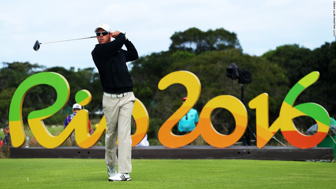 South Africa's Jaco van Zyl hits a tee shot during the first round of the golf competition.