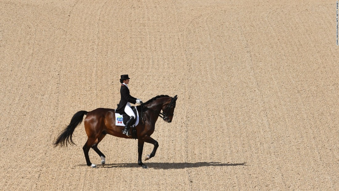 Canada's Belinda Trussell performs a routine during the dressage Grand Prix event.