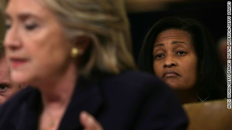 Cheryl Mills seated behind Hillary Clinton on Capitol Hill in 2015.