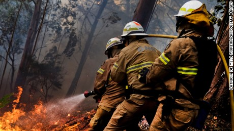 Firefighters fight a blaze at Calheta on Madeira island Thursday.