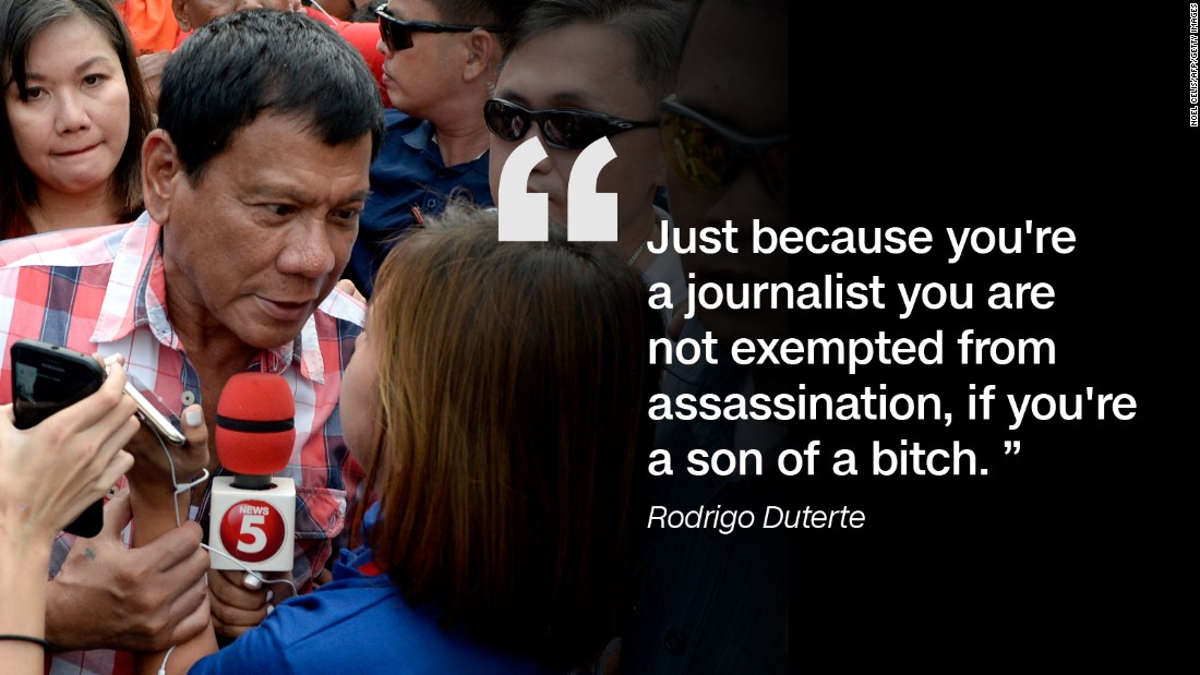 Speaking at a press conference to unveil his new cabinet on May 31 2016, Rodrigo Duterte said journalists killed on the job in the Philippines were often corrupt.