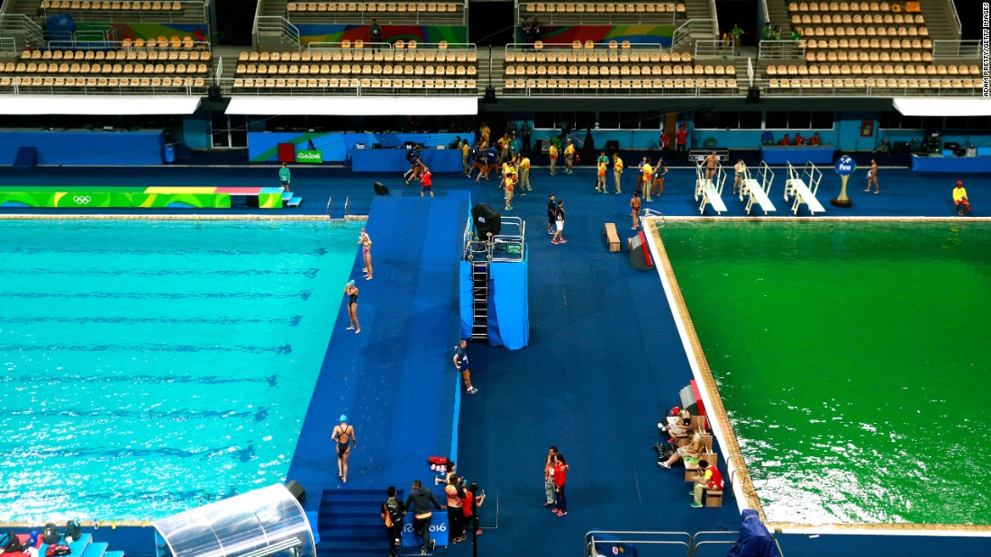 """The Olympic diving pool turned green in Rio de Janeiro on Tuesday, August 9. Officials <a href=""""http://www.nytimes.com/2016/08/11/sports/olympics/green-water-pool-rio-games.html"""" target=""""_blank"""">blamed the color change on a chemical imbalance</a> in the water, but they said there were no health risks to the athletes."""