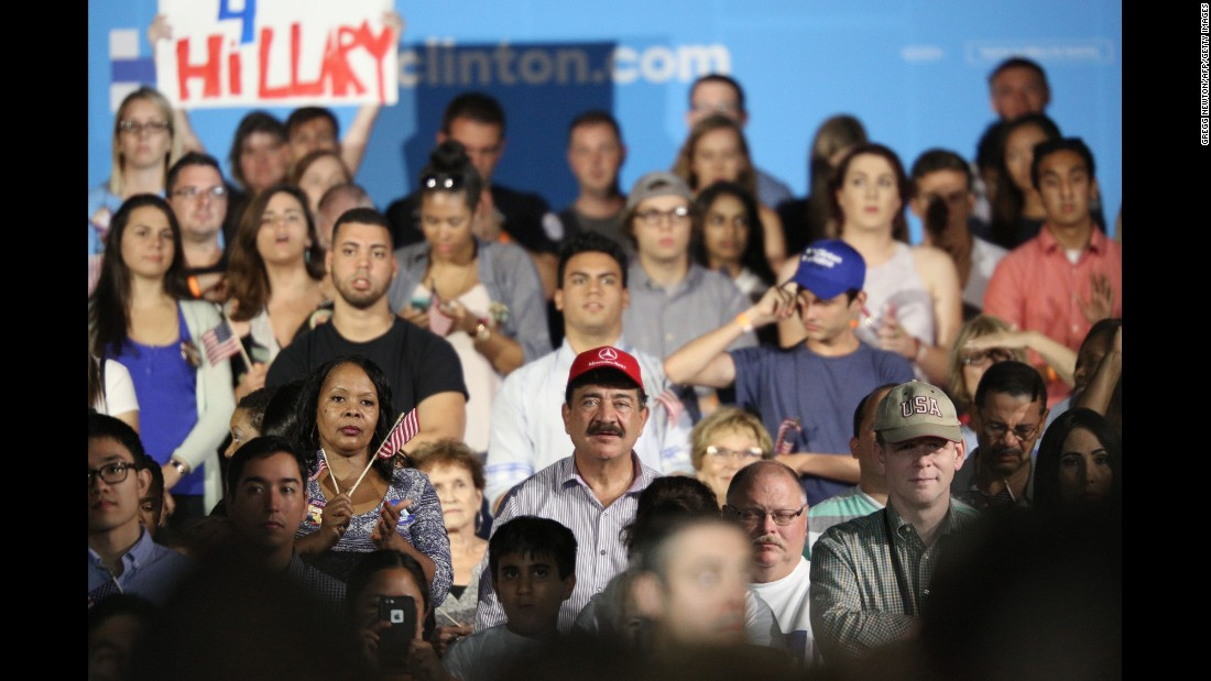 """Seddique Mateen, the father of the gunman who killed 49 people at a nightclub in Orlando, wears a red cap as <a href=""""http://www.cnn.com/2016/08/09/politics/orlando-gunman-father-clinton/"""" target=""""_blank"""">he attends a Hillary Clinton campaign rally</a> in Kissimmee, Florida, on Monday, August 8. A Clinton aide said the campaign was unaware of Mateen's attendance until after the event. Clinton spokesman Nick Merrill later issued a statement saying, """"Hillary Clinton disagrees with his views and disavows his support."""""""