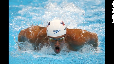 Ryan Lochte competes in a 200-meter individual medley race in Rio.