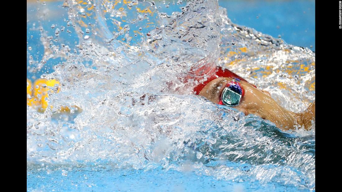 Japan's Kosuke Hagino swims the 200-meter freestyle on Sunday, August 7.
