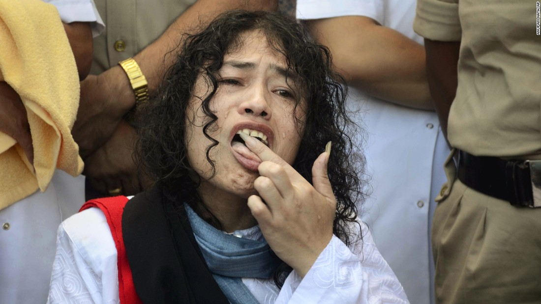 """With a lick of some honey that was spooned onto her palm, human-rights activist Irom Sharmila <a href=""""http://www.cnn.com/2016/08/09/asia/longest-hunger-strike-ends/"""" target=""""_blank"""">ended her 16-year hunger strike</a> -- the longest such fast in the world -- in India on Tuesday, August 9. """"I will never forget this moment,"""" said Sharmila, who was finally free of the nasal tube that the government had used to force-feed her for more than a decade. The 2005 Nobel Prize nominee started her strike in 2000, after 10 civilians allegedly were killed by Indian soldiers in Manipur. She was protesting India's Armed Forces Special Powers Act, which gives sweeping powers to the military to search properties, detain suspects without warrants and even shoot on sight."""