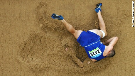 Moldova's Victor Covalenco competes in the long jump portion of the decathlon during the 2008 Olympic Games in Beijing. Photographer Al Bello has covered 11 different Olympics during his career.