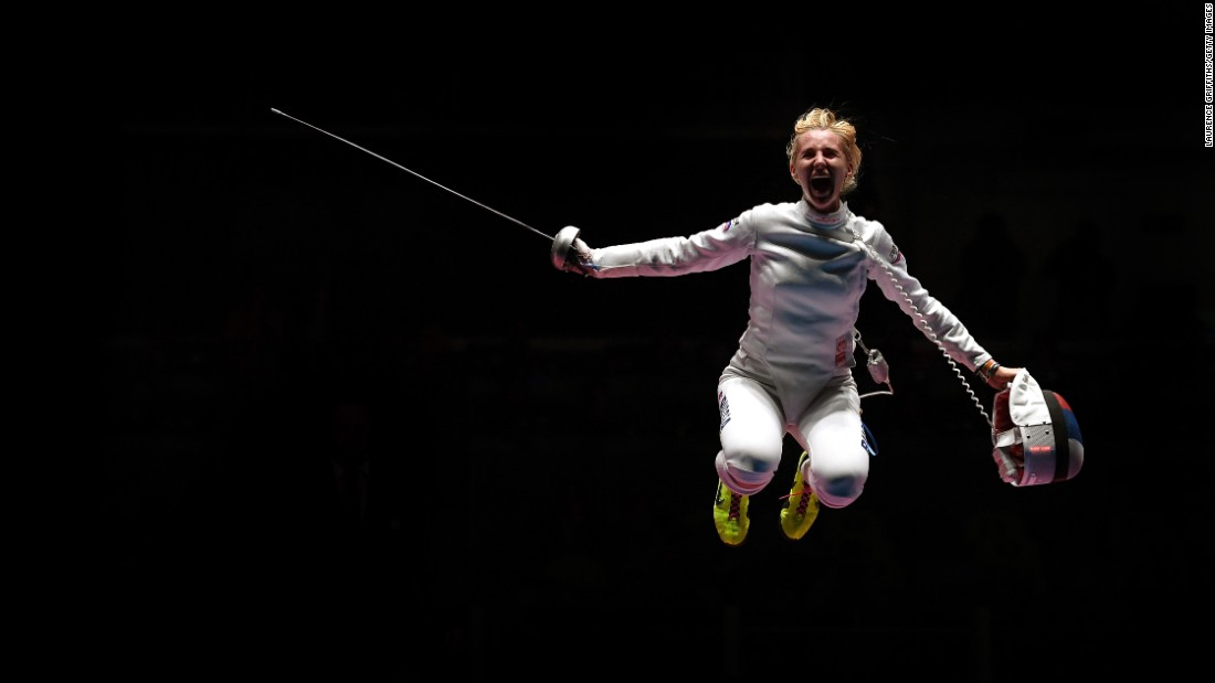 Russian fencer Violetta Kolobova celebrates after defeating Estonia's Irina Embrich to win bronze in the team epee.