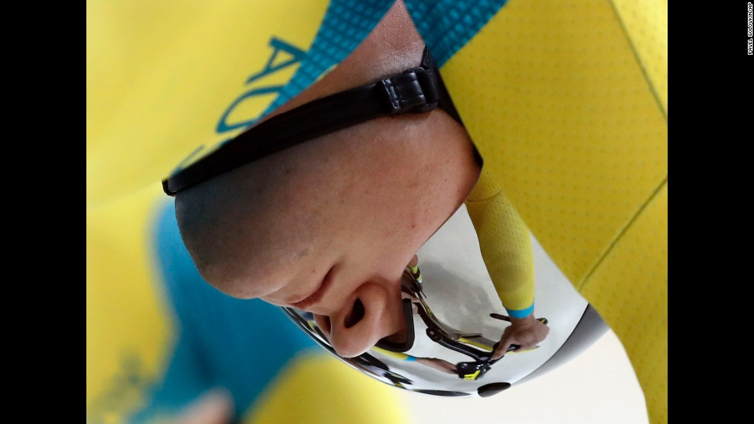 Australian cyclist Patrick Constable gets ready to compete in team sprint qualifying.