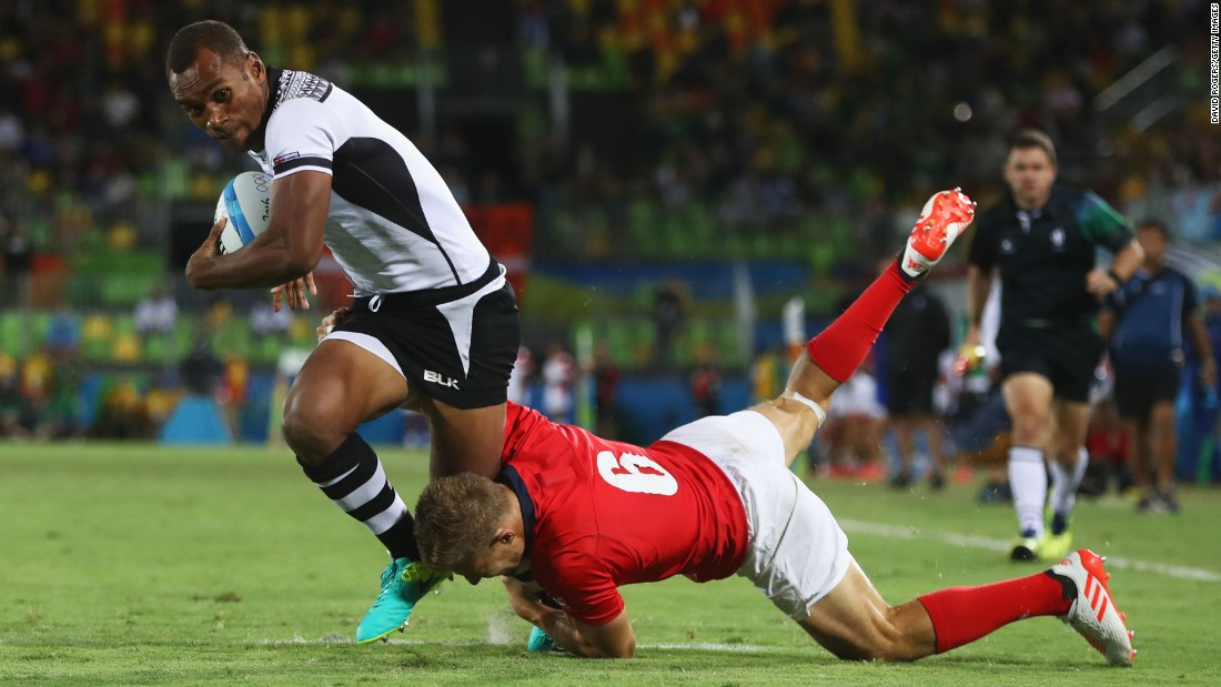 Captain Osea Kolinisau was one of the outstanding players of the tournament. He played a key role in leading Fiji to its first historic gold.