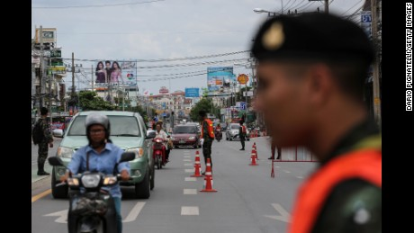 A Thai Army officers control traffic on Friday August 12, 2016 in Hua Hin, Thailand. A series of coordinated blasts across Southern Thailand including Hua Hin and Phuket killing at least four people and injured dozens over the last 24 hours. According to reports, no group has claimed the attacks but suspicion has fallen on separatist insurgents.